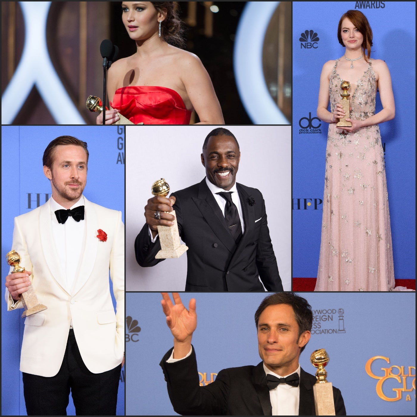 Golden Globe winers Gael Garcia Bernal, Emma Stone, Jennifer Lawrence, Idris Elba and Ryan Gosling