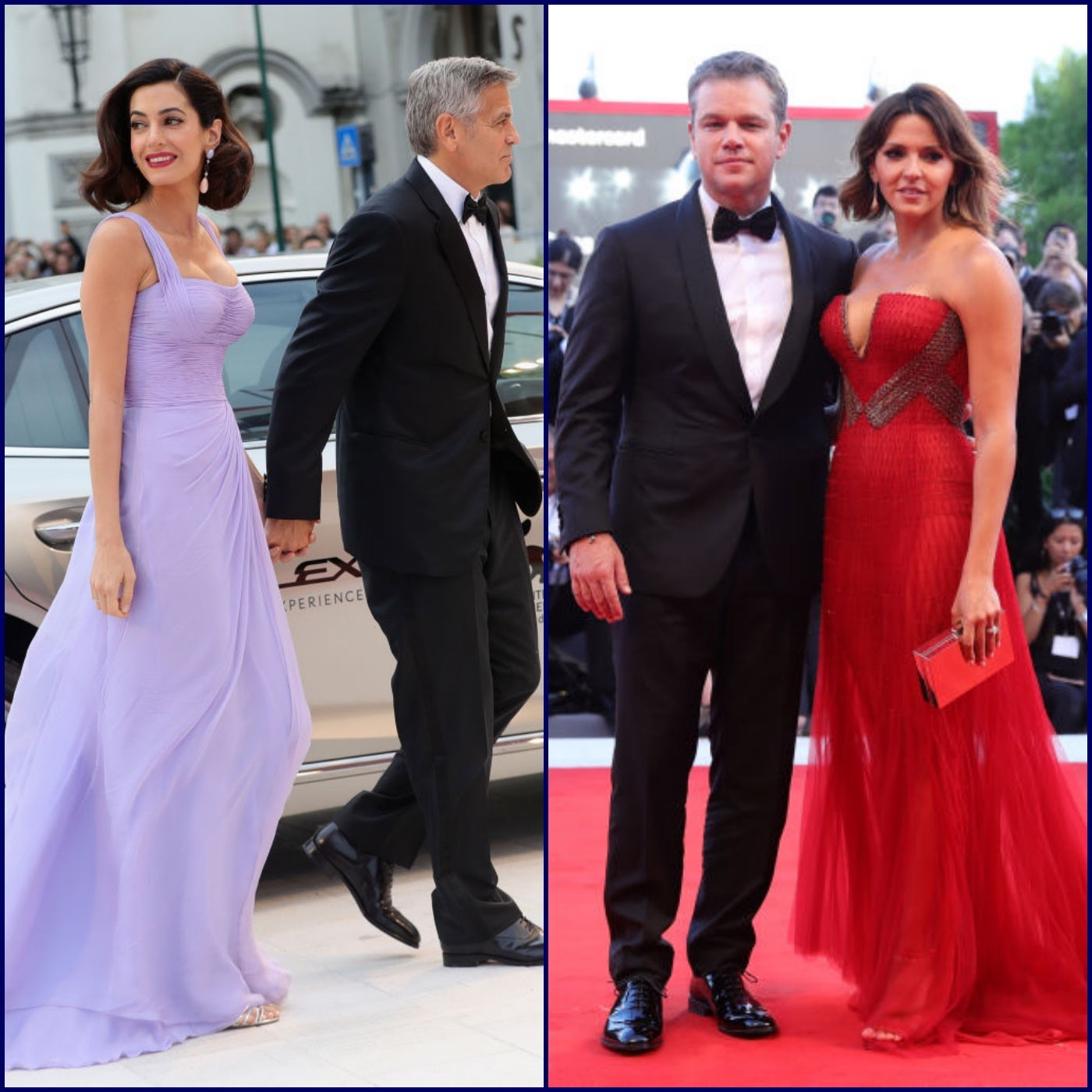 George and Amal Clooney, Matt Damon and Luciana Barroso