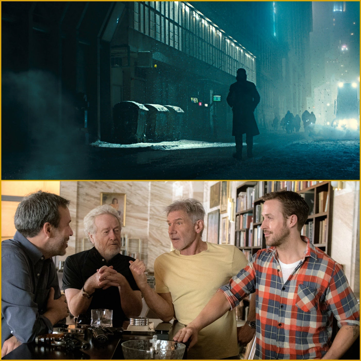 A scene from Blade Runner 2049, and Denis Villeneuve with Ridley Scott, Harrison Ford and Ryan Gosling