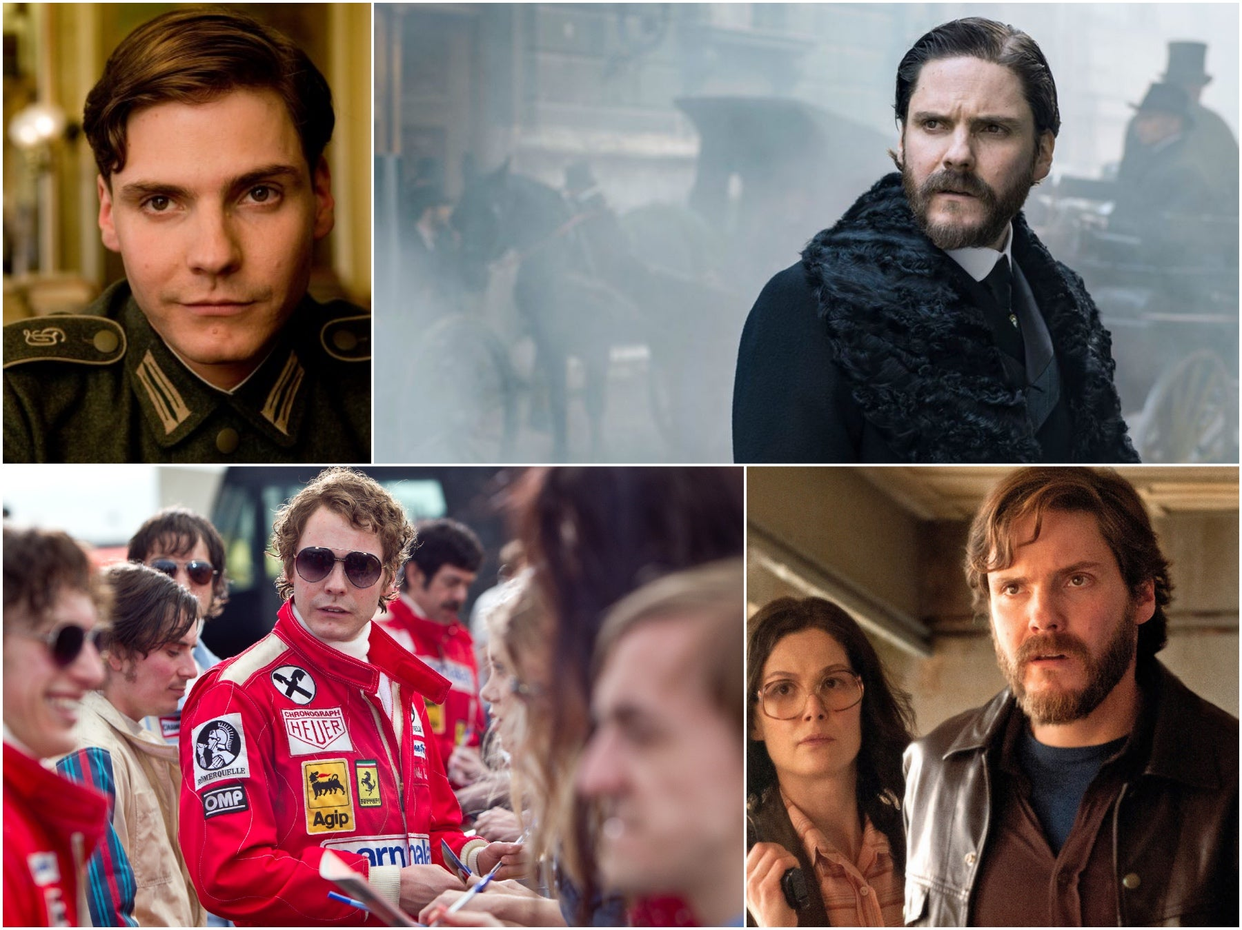Scenes from movies and T series starring Daniel Bruhl