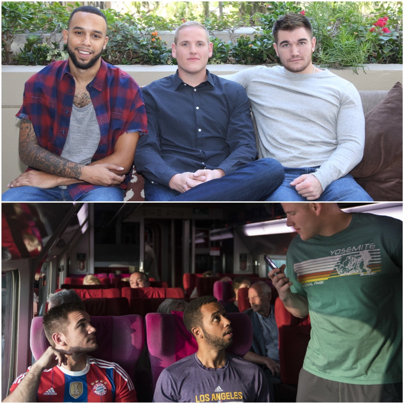 Alek Skarlatos, Anthony Sadler and Spencer Stone, from 15:17 to Paris
