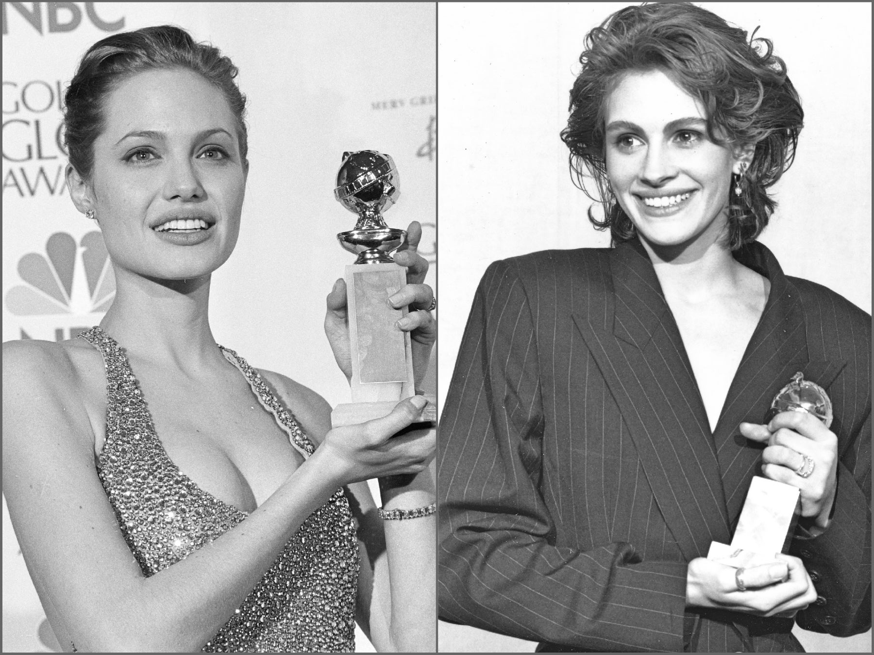 Julia Roberts in 1991 and Angelina Jolie in 1999, wining Golden Globes