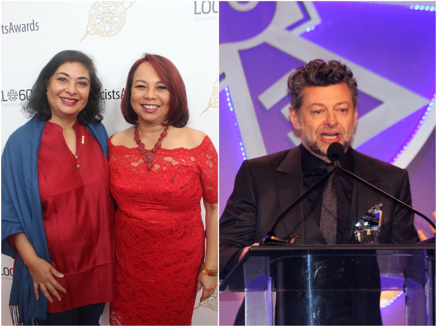 HFPA President Meher Tatna, Janet Nepales and Any Serkis at the 55th Publicists Awards