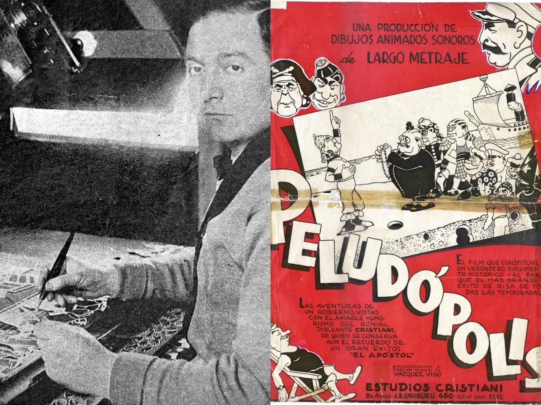 "Argetinian animator Quirino Cristriani and poster of his film ""Peludopolis"""