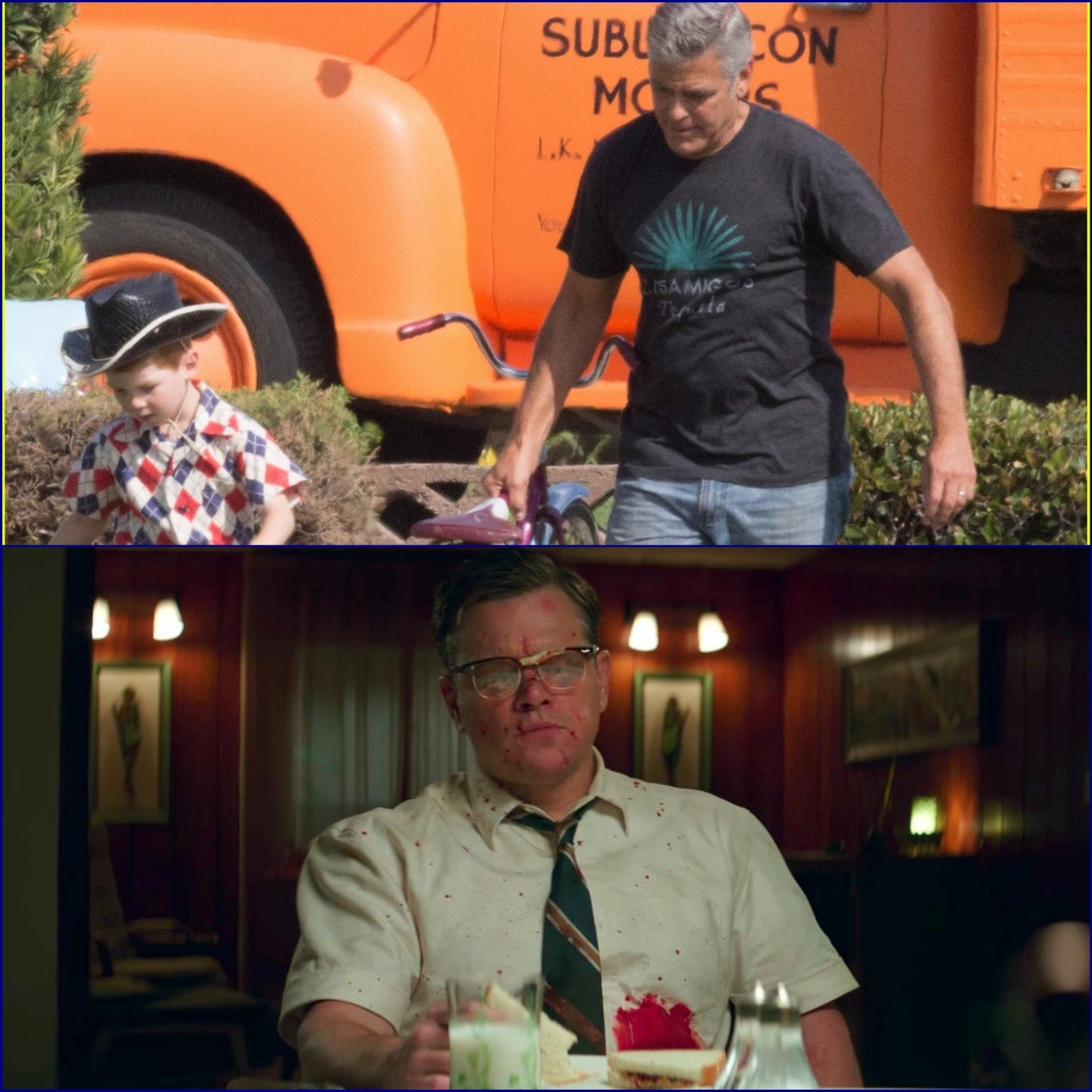 George Clooney on set of Suburbicon, Matt Damon in a scene from Suburbicon