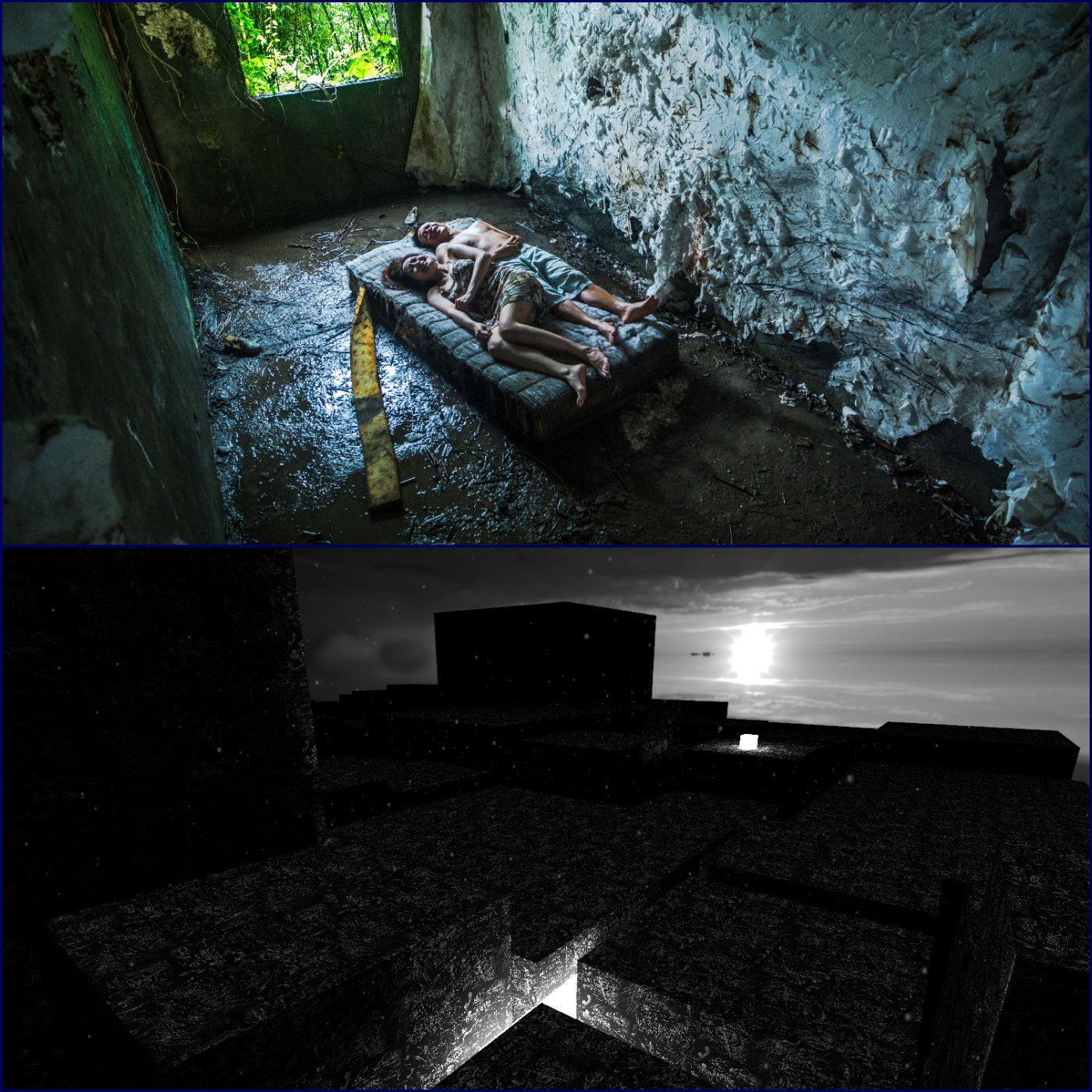 "Scenes from the VR works ""The Deserted: and ""La Camera Insabiatta"""