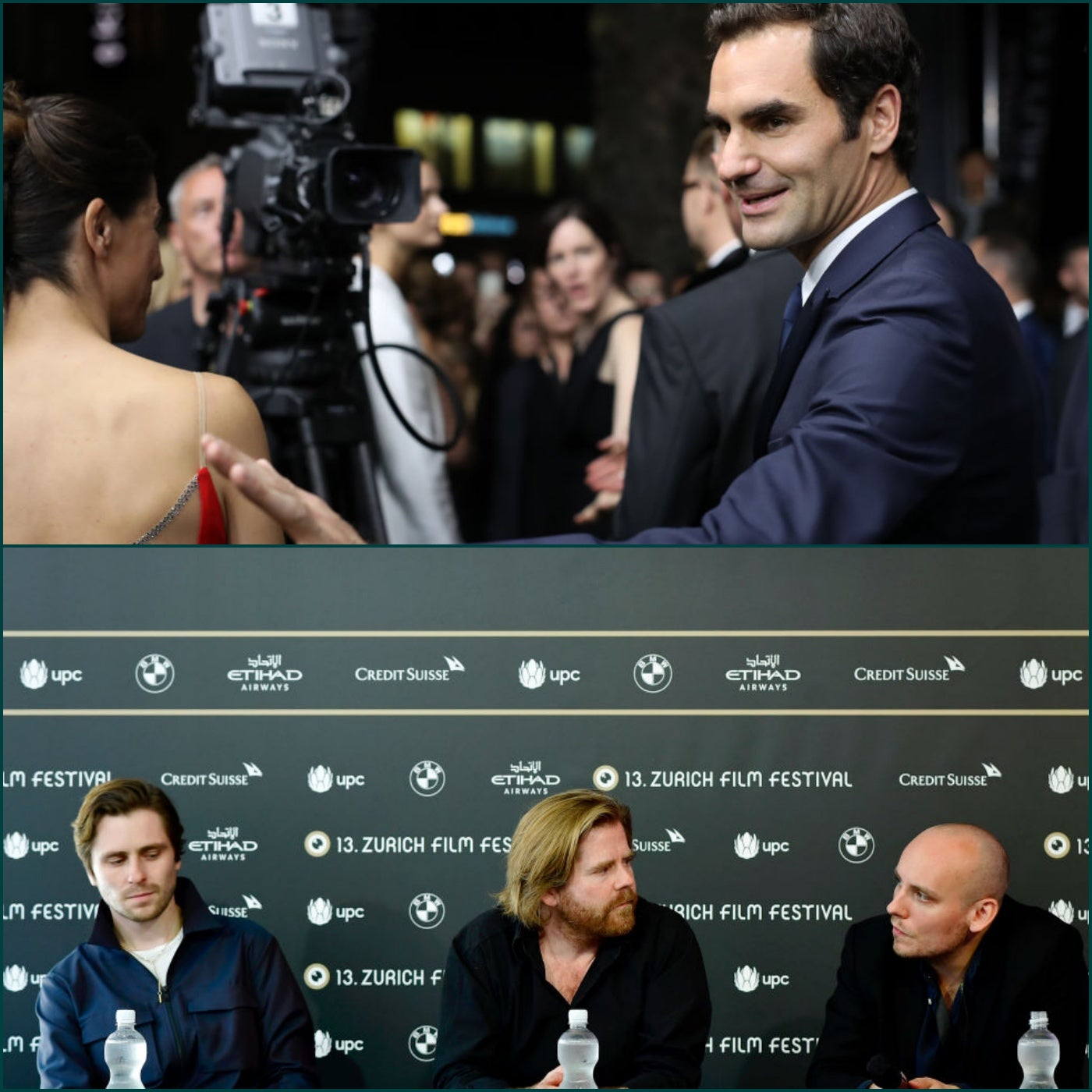 "Roger Federerand cast and director of the film 'Borg McEnroe"" at the 2017 Zurich Film Festival"