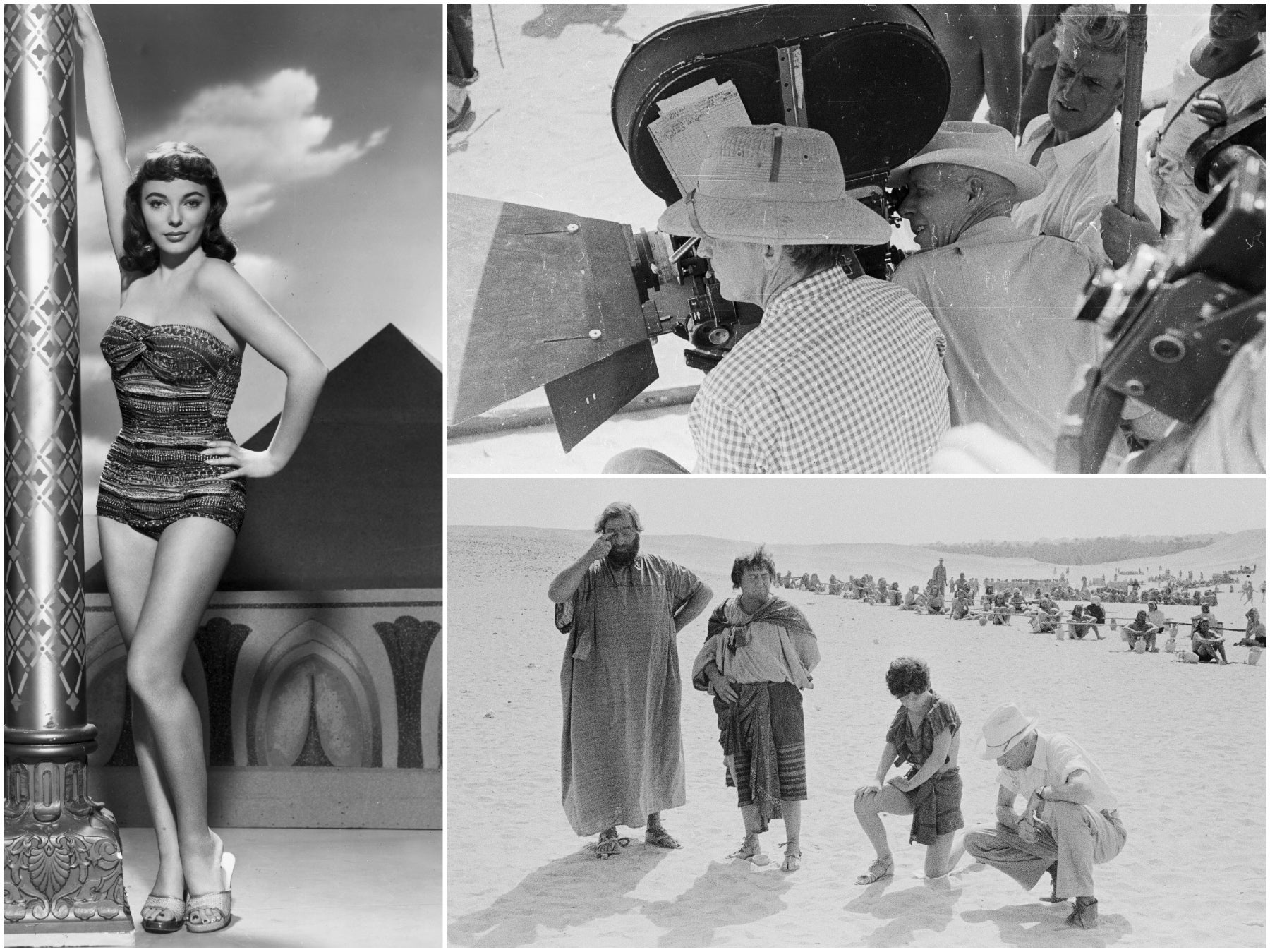 """Director Howard Hawks and actress Joan Collins in """"Land of the Pharaohs"""""""