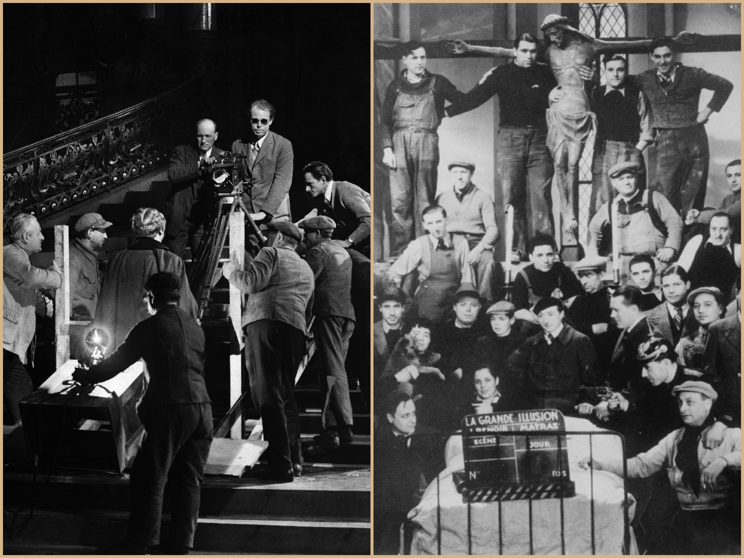 Collage of Renoir in action in the 1920s and 30s.