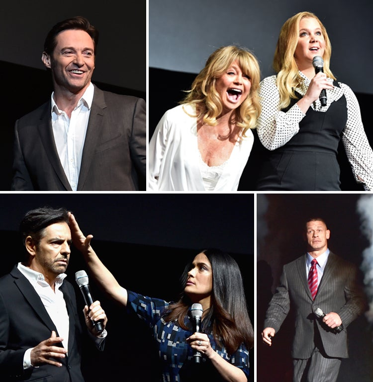 Closing arguments. (Clockwise from top left): Hugh Jackman; Goldie Hawn and Amy Schumer; Eugenio (aka Eugene) Derbez and Salma Hayek and ; and John Cena and his epic entrance.