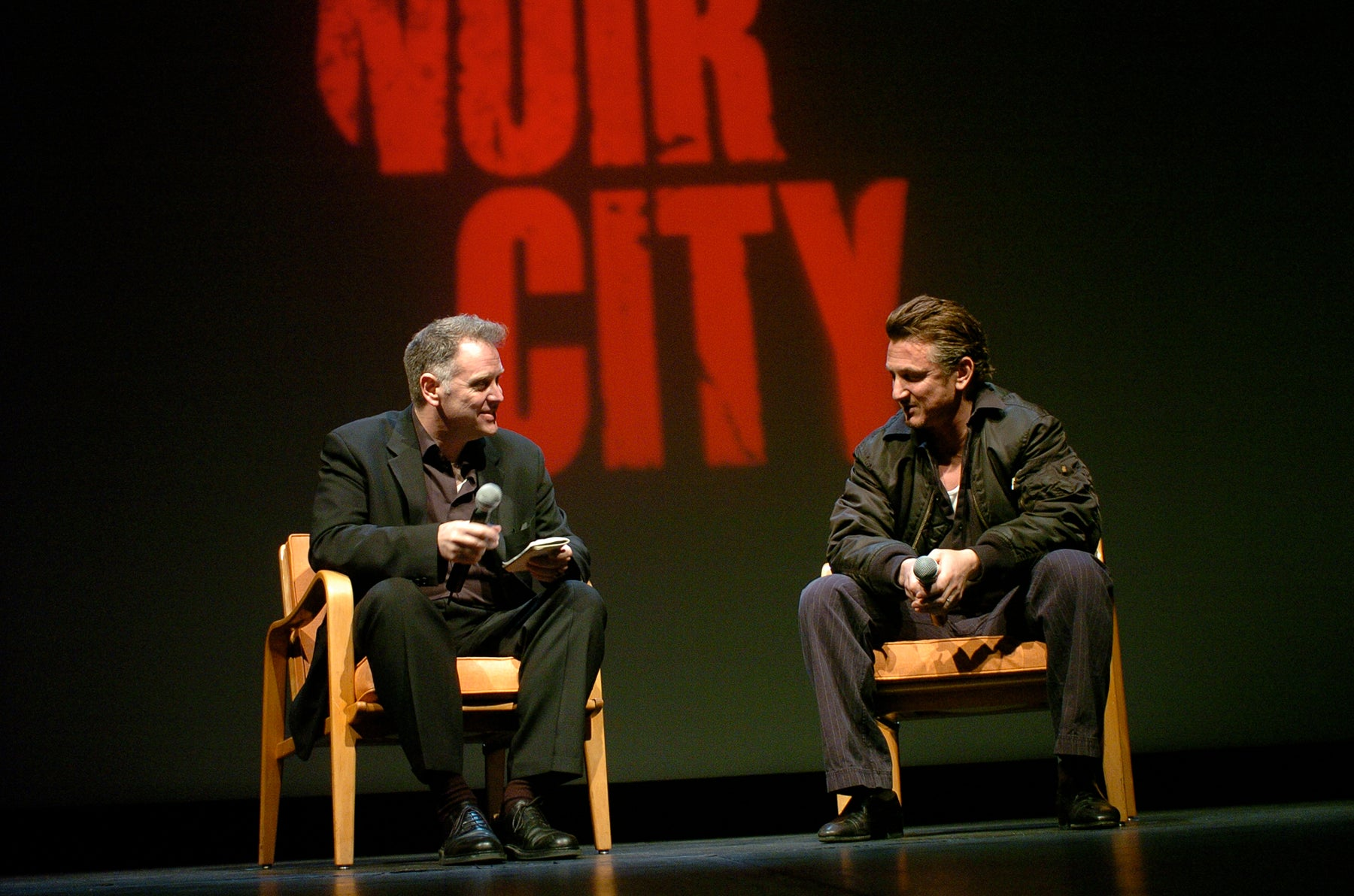 Eddie Muller with Sean Penn at Noir City