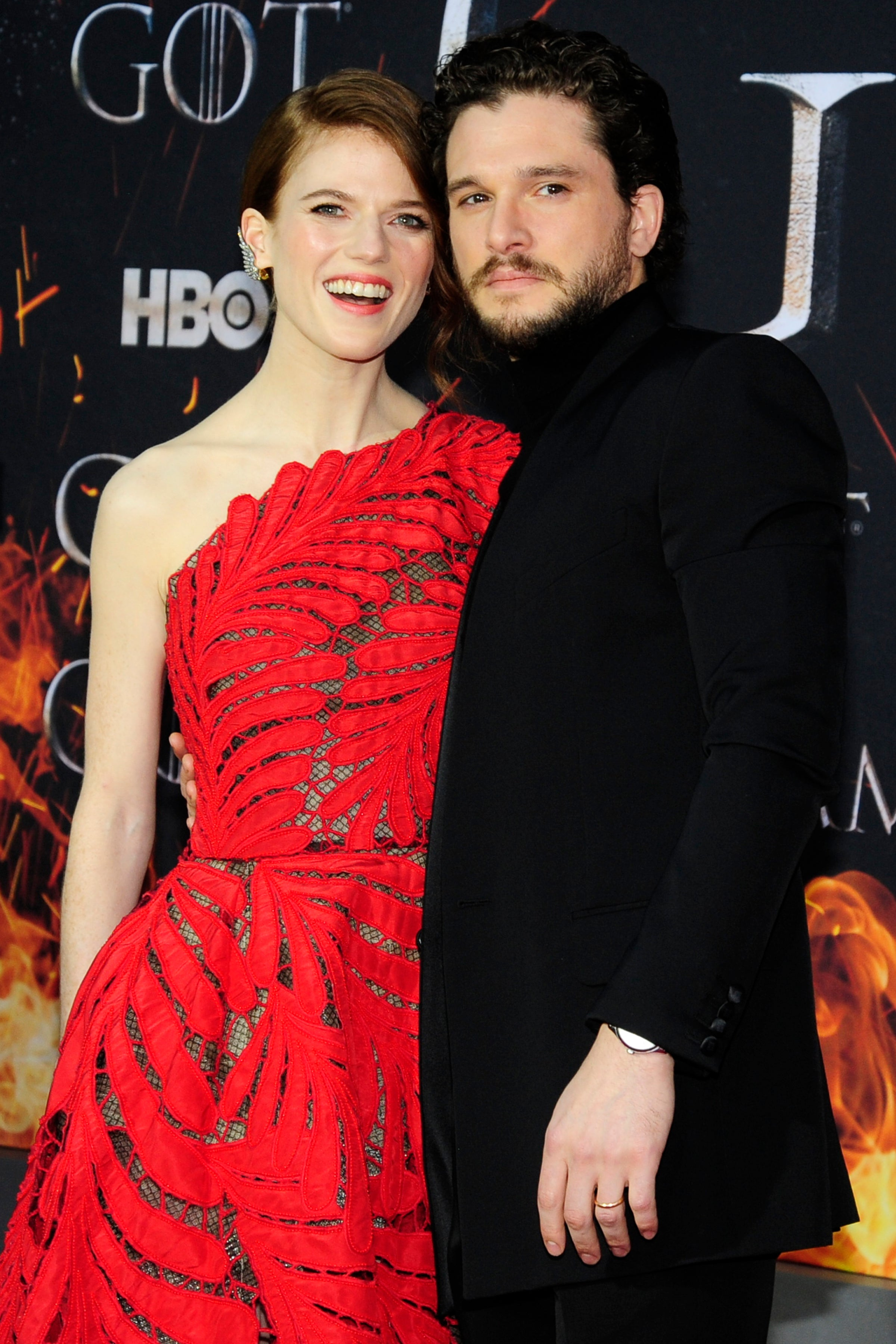 Actors Kit Harington and Rose Leslie at the premiere of Game of Thrones season 8, 2019