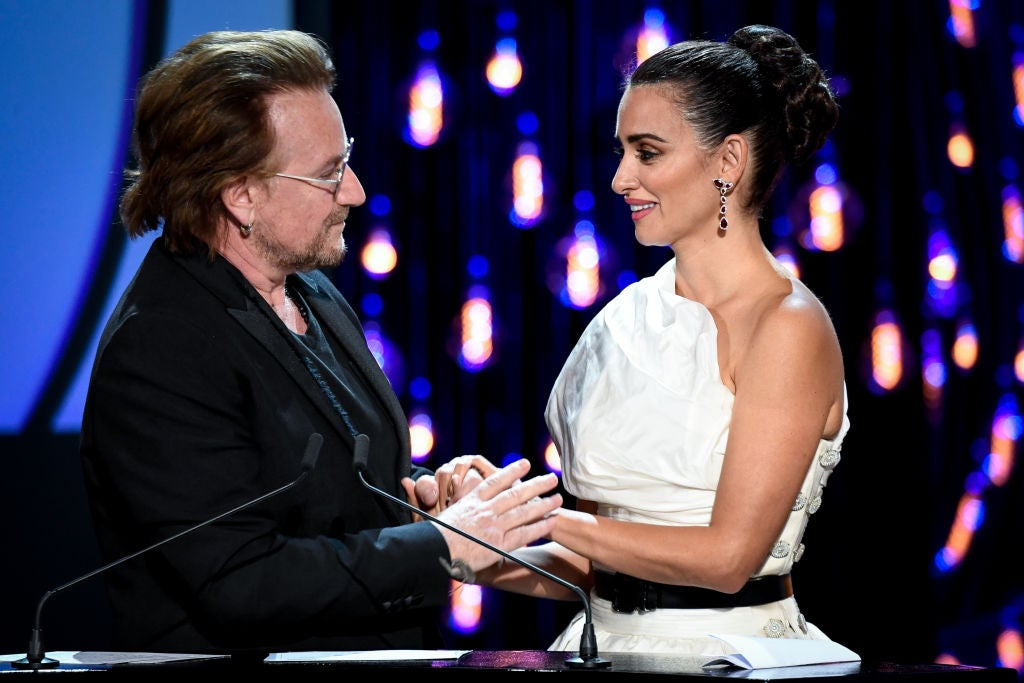 Actress Penelope Cruz receievd award from Bono at the 2019 San Sebastian Film Festival