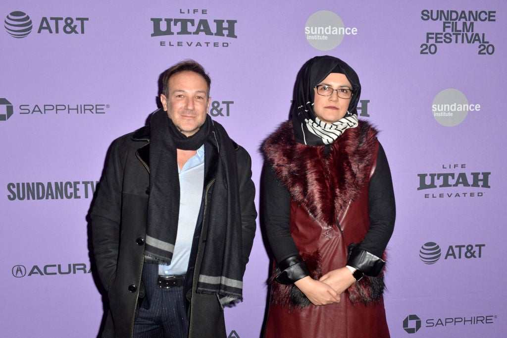 "Director Bryan Fogel and film subject Hatice Cengiz attend the ""The Dissident"" premiere during the 2020 Sundance Film Festival"