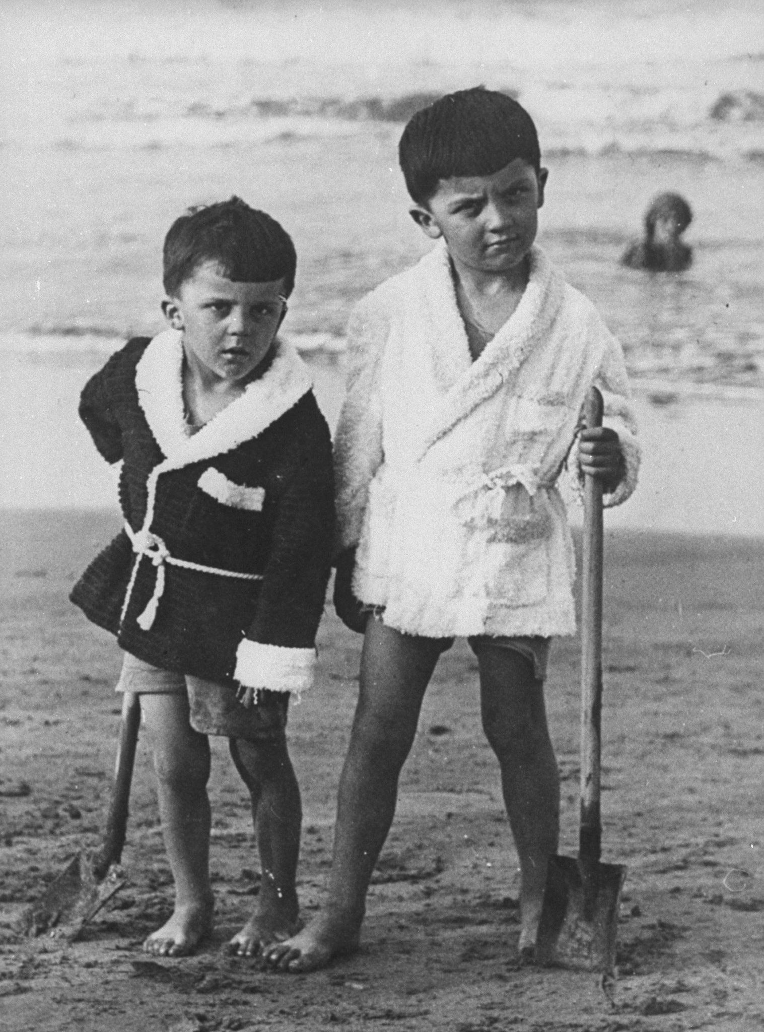 Fellini and his brother, 1920s, Rimini, Italy
