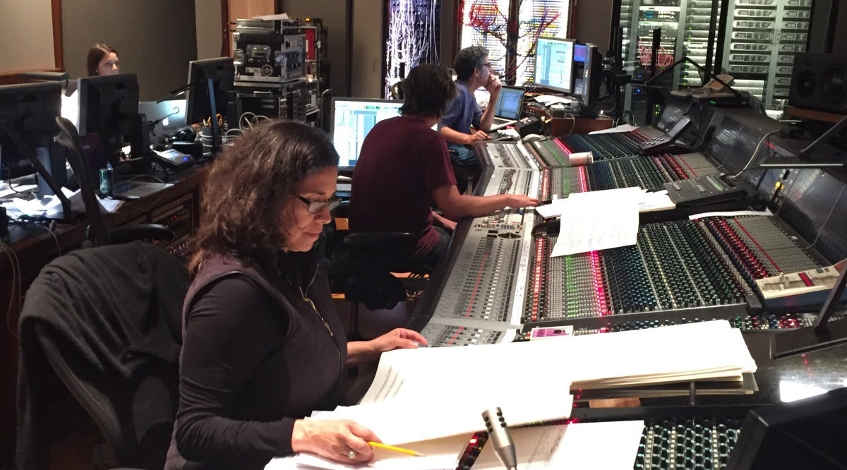 Composer Germaine Franco in the studio, scoring Coco