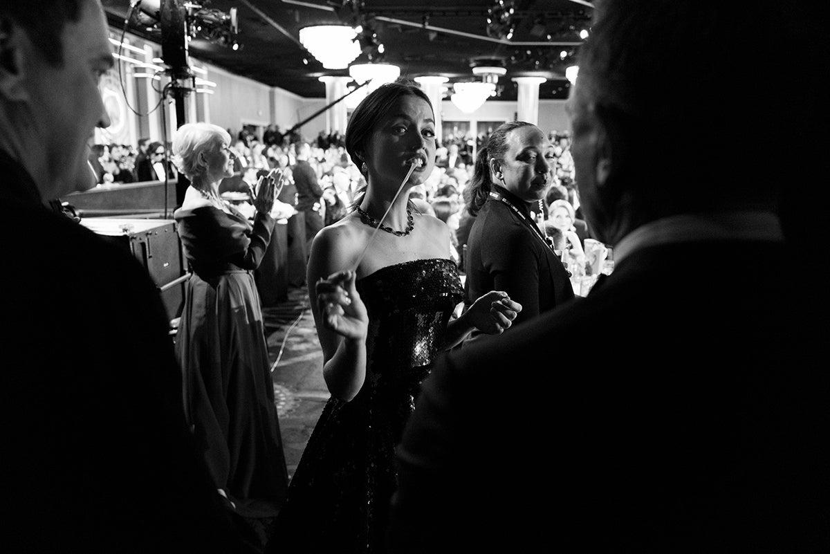 Ana de Armas, Quentin Tarantino, Daniel Craig with Helen Mirren in the background
