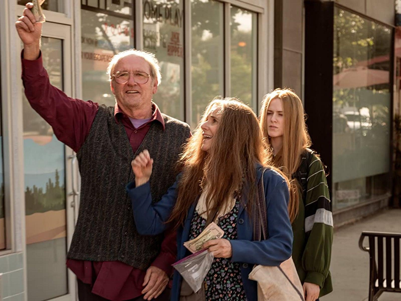 """Debra Winger, Richard Jenkins, and Evan Rachel Wood in """"Kajillionaire"""" (2020)"""