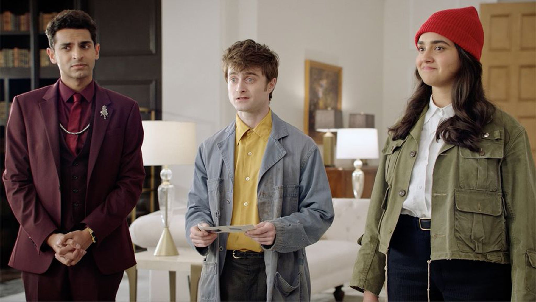 "Daniel Radcliffe, Karan Soni, and Geraldine Viswanathan in ""Miracle Workers"" (2019)"