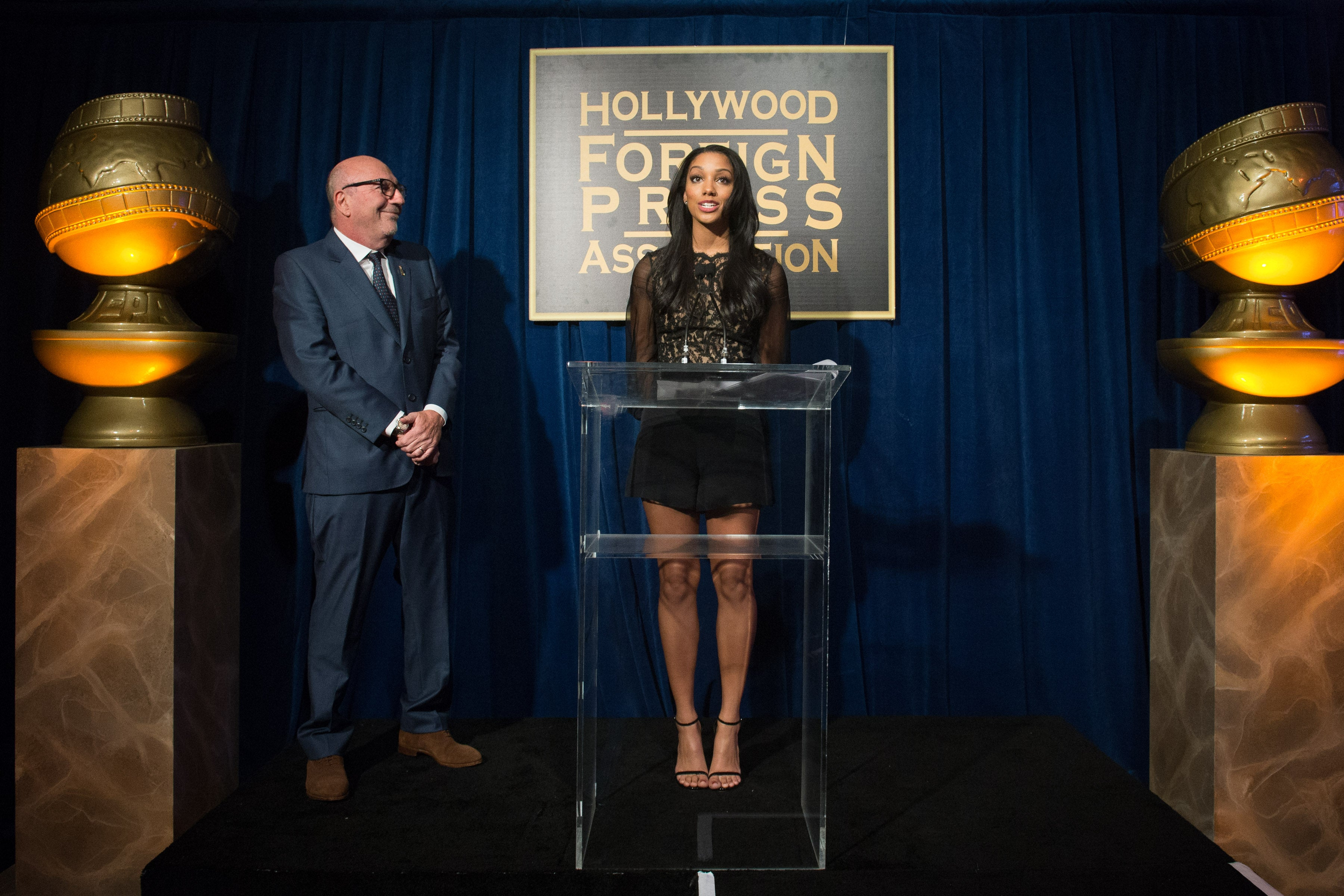 Corinne Fox, Miss Golden Globe 2016 and HFPA President Lorenzo Soria
