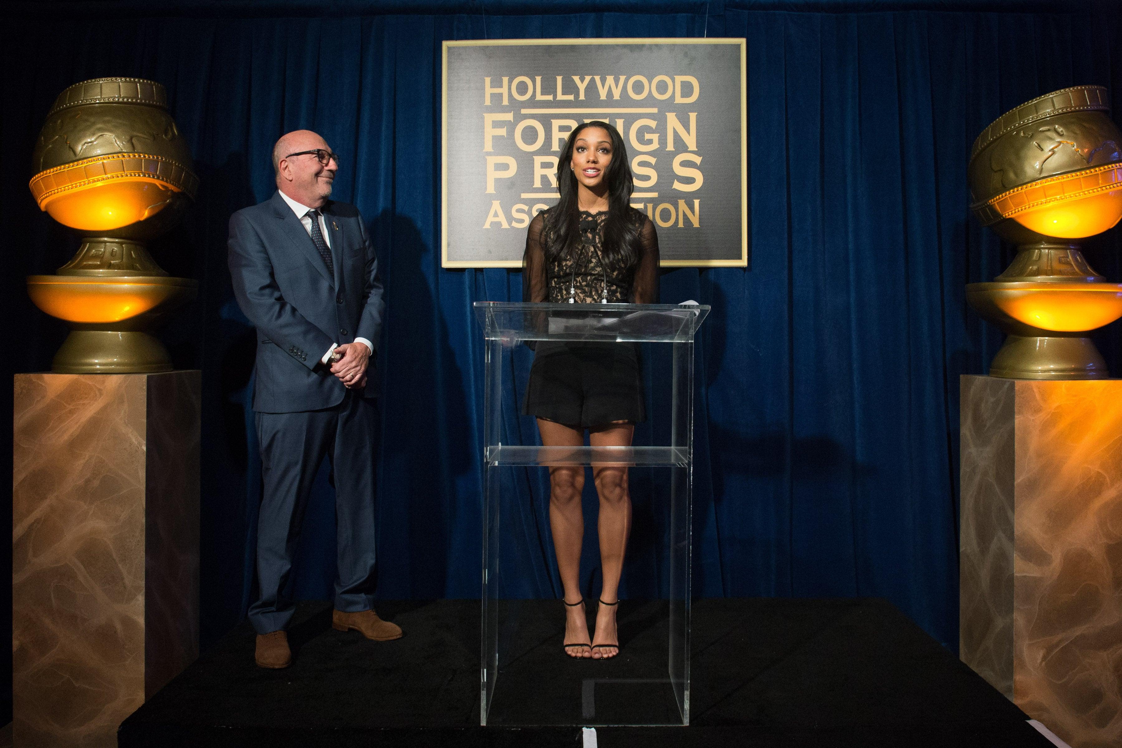 Corinne Fox, Miss Golden Globe 2016 and HFPA President Lorenzo Soria