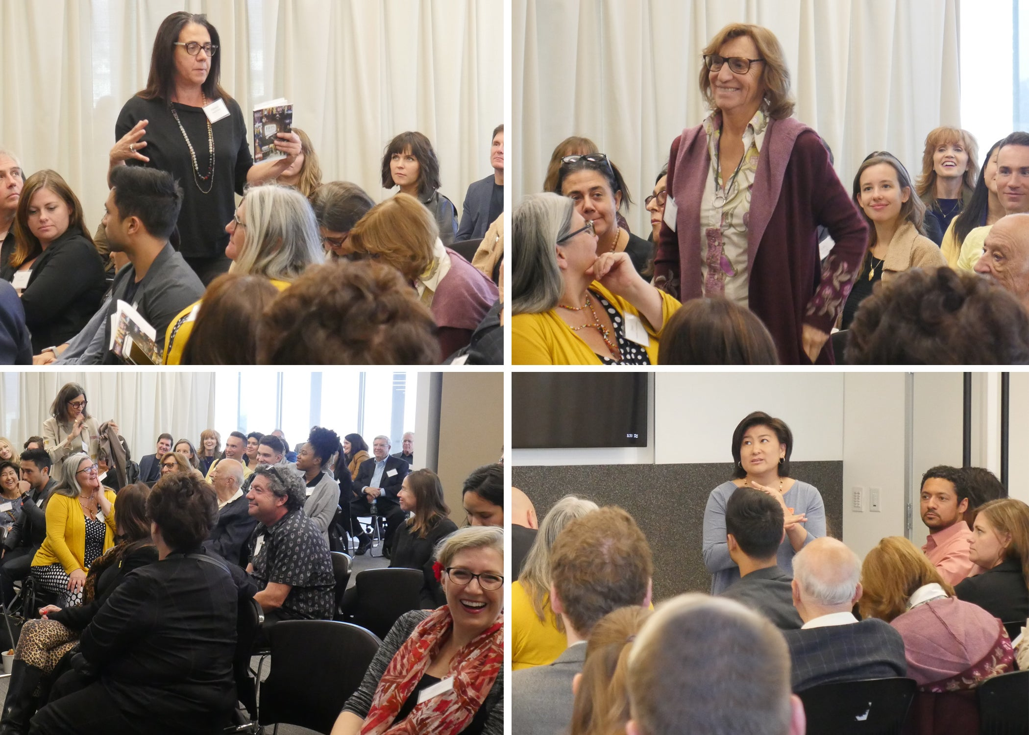 Francesca Guerrini of Global Girl Media, HFPA Grants Committee member Silvia Bizio, HFPA Grant Committee member Alessandra Venezia addresses the group, Michelle Sugihara of Coalition of Asian Pacifics in Entertainment