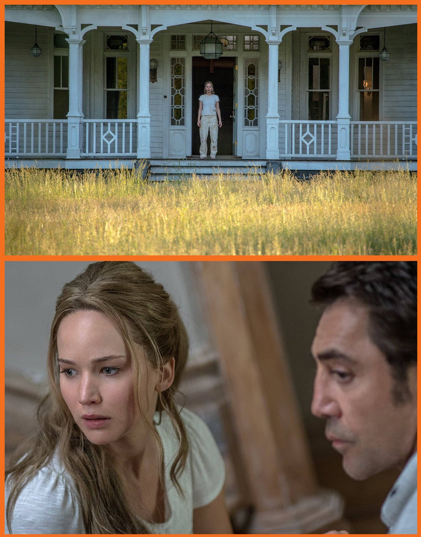 "Jennifer Lawrence and Javier Barden in ""mother!"""