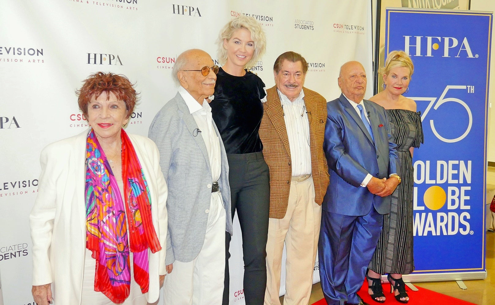 Senior members of the HFPA and Jenna Elfman at CSUN