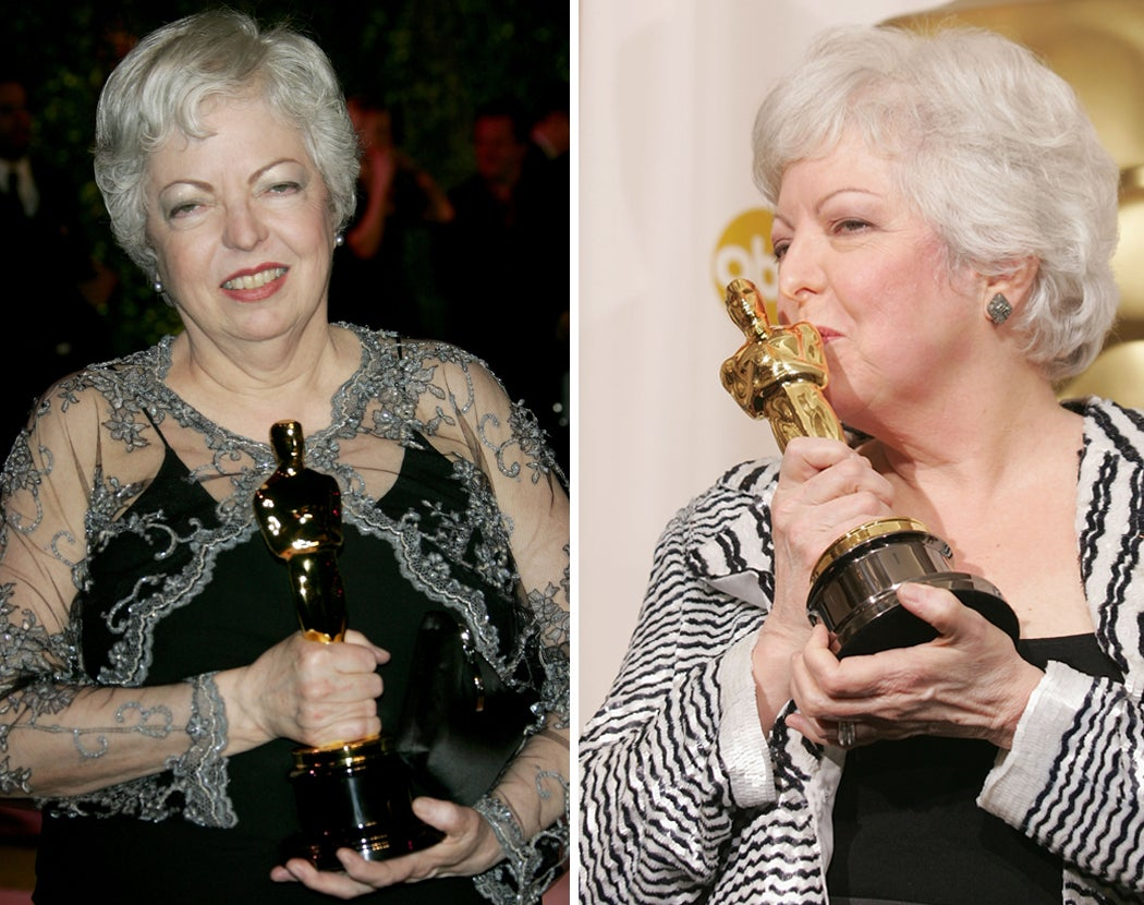 Thelma Schoonmaker with her Oscars for Best Achievement in Editing for The Departed, February 25, 2007 and for Achievement in Film Editing for The Aviator February 27, 2005 in Hollywood, California.