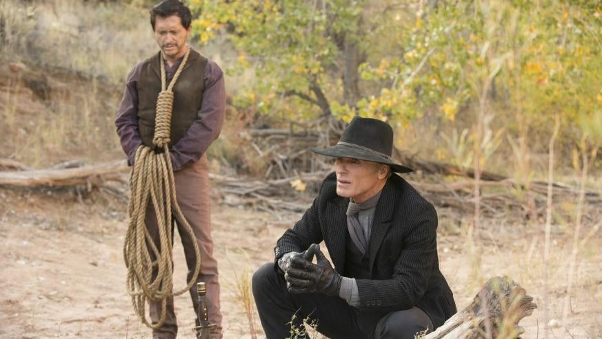 "Actor Clifton Collins Jr. and Ed Harris in ""Westworld"""