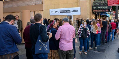 Audience Lines up at the Egyptian for the HFPA Restoration Summit 2020