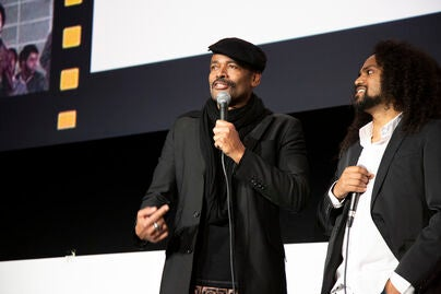 Mario Van Peebles is flanked by son Makaylo as he introduces his father Melvin Van Peebles' Story of a Three Day Pass