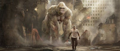 A scene from the movie Rampage, with Dwayne Johnson