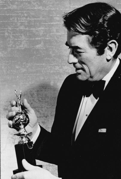 Actor Gregory Peck, Golden Globe winner, Cecil B. deMille recipient