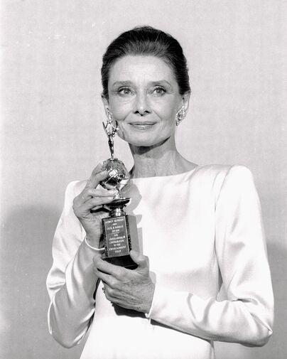Actress Audrey Hepburn, Golden Globe winner, Cecil B. deMille award recipient