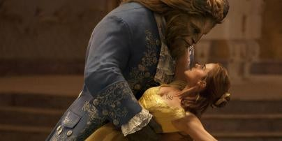 """Scene from """"Beauty and the Beast"""" movie with Emma Watson and Dan Stevens"""