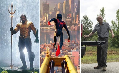 """Scenes from """"Aquaman"""", """"Spider-Man: The Spider-Verse"""" and """"The Mule"""""""