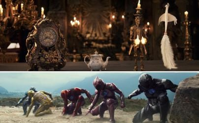 "Scenes from ""Beauty and the Beast"" and ""Power Rangers"""