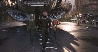 Chadwick Boseman, Danai Gurira, and Lupita Nyong'o in a scene from Black Panther