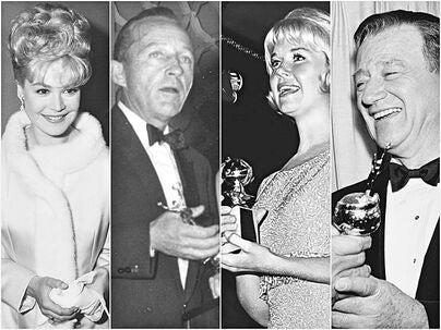 Sandra Dee, Bing Crosby, Doris Day and John Wayne at the Golden Globes