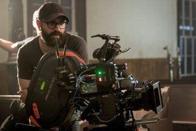 Director Antonio Campos on set of The Devil All the Time, 2020