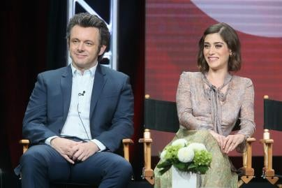 "Lizzy Caplan and Michael Shee, stars of the TV series ""Masters of Sex"""
