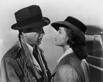 "Humphrey Bogart and Ingrid Bergman in a scene from the movie ""Casablanca"""