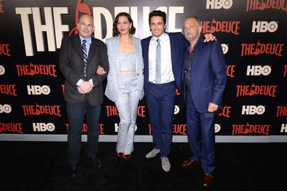 David Simon, Maggie Gyllenhaal, James Franco and George Pelecanos attend 'The Deuce' New York premiere