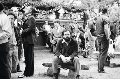 """Direcror Francis Ford Coppola, Goldem Globe Winner, on the set of """"The Godfather"""""""
