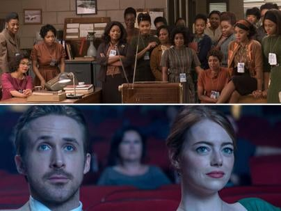 Scenes from Hidden Figures and La La Land