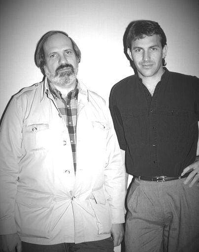 Kevin Costner, Golden Globe winner, with director Brian DePalma, 1987