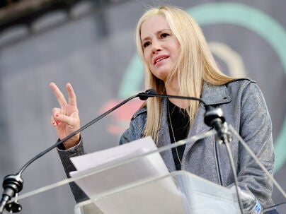 Actress Mira Sorvino speaks at the 4th annual Women's March LA: Women Rising at Pershing Square on January 18, 2020 in Los Angeles, California.