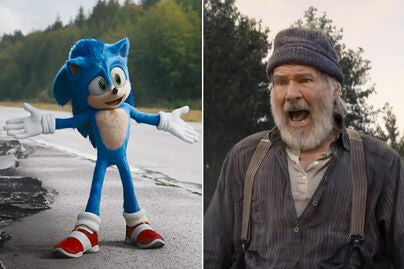 "Ben Schwartz in ""Sonic the Hedgehog"" and Harrison Ford in ""The Call of the Wild"""