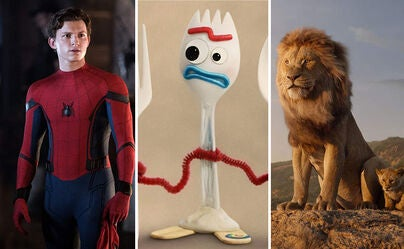 "Scenes from ""Spider-Man: Far from Home"", ""Toy Story 4"" and ""The Lion King"""
